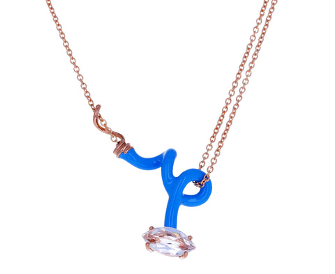 Blue Enamel Rock Crystal Vine Pendant Necklace