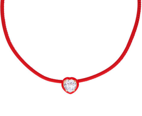Red Enamel and Rock Crystal Pop Choker Necklace