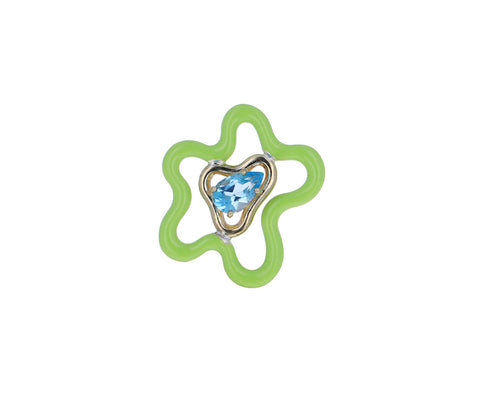 Flower Power Green Enamel and Blue Topaz Brooch