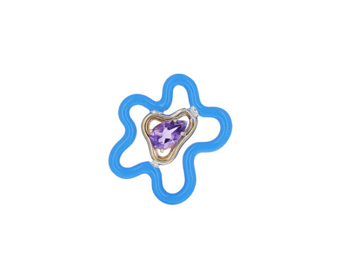 Flower Power Blue Enamel Amethyst Brooch