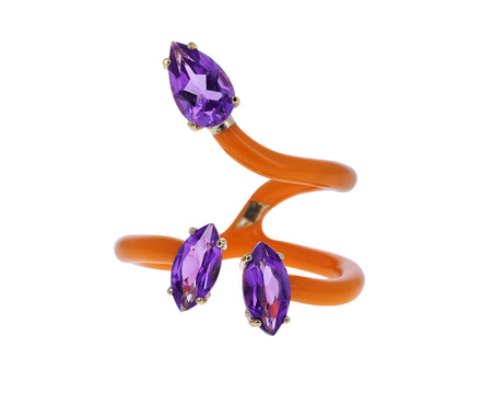 Orange Enamel and Amethyst Double Vine Ring