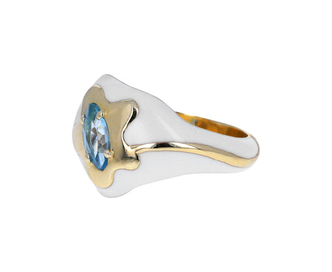 White Enamel and Blue Topaz Flower Signet Ring