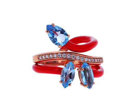 Red Enamel Blue Topaz and Diamond Band Vine Ring