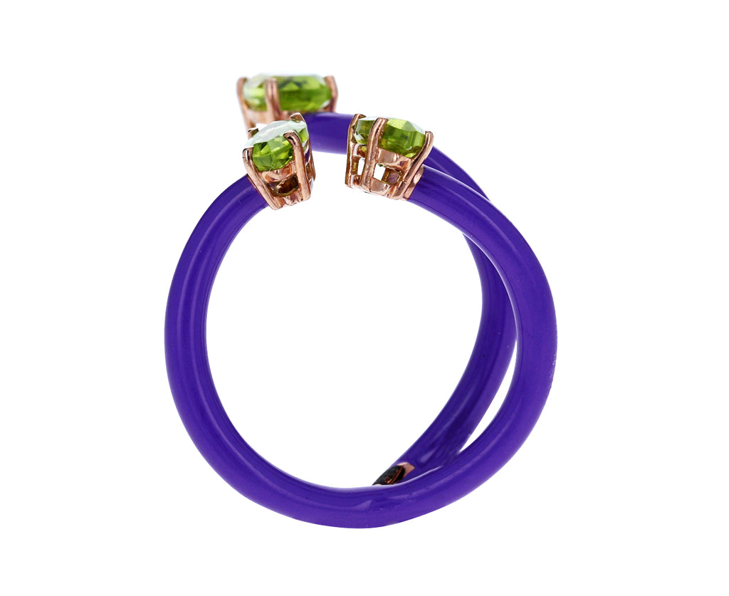 Purple Enamel Peridot Double Vine Ring - TWISTonline