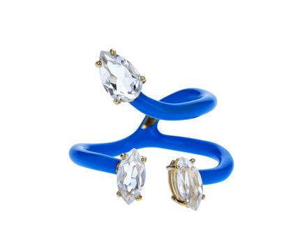 Blue Enamel Rock Crystal Double Vine Ring - TWISTonline