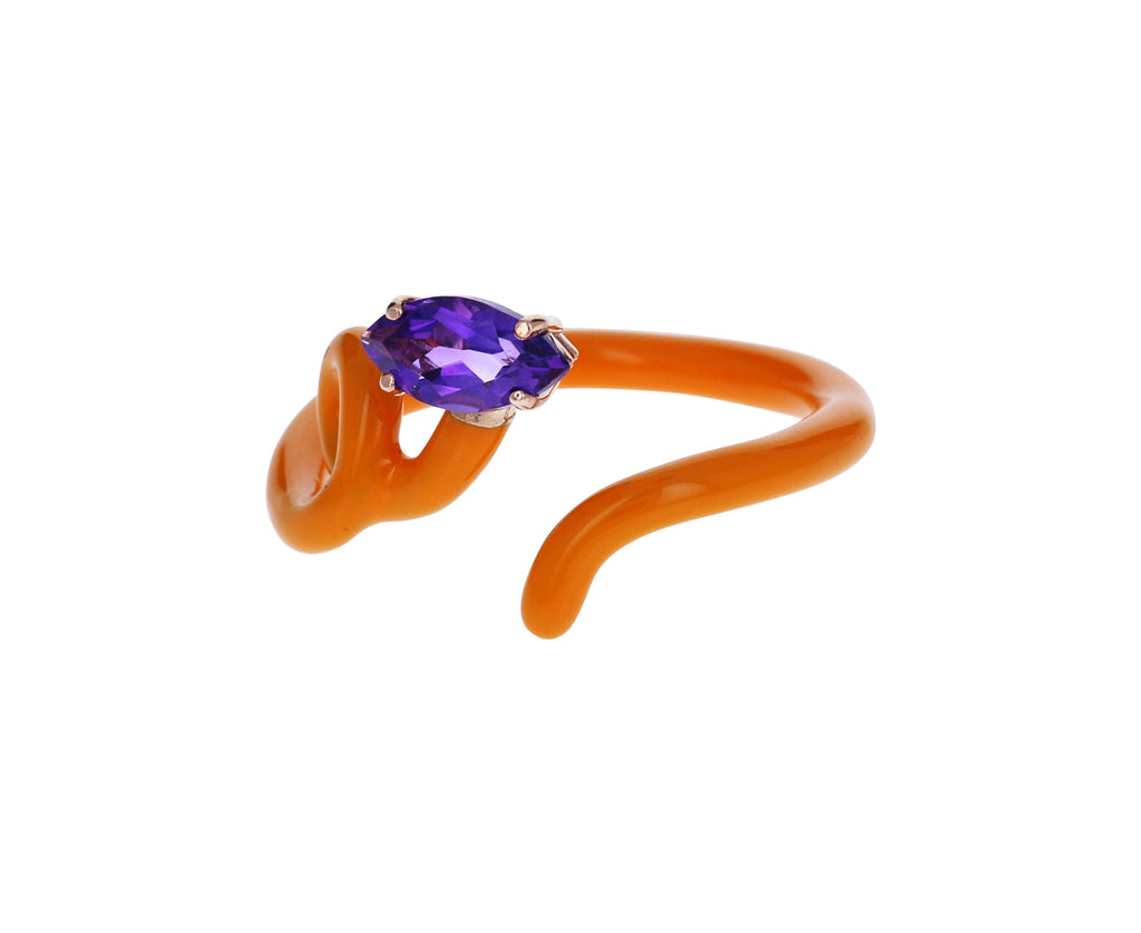 Orange Enamel Amethyst Baby Vine Ring - TWISTonline