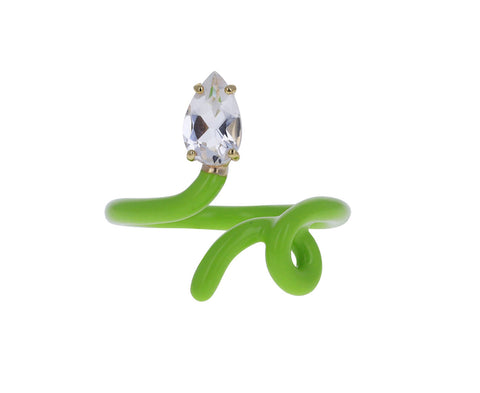 Green Enamel and Rock Crystal Baby Vine Ring