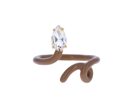 Rock Crystal Enamel Baby Vine Ring