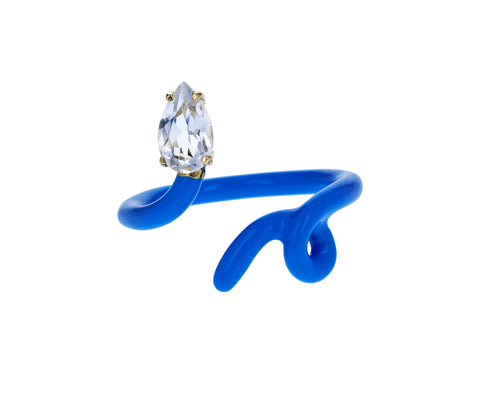 Blue Enamel Rock Crystal Baby Vine Ring - TWISTonline