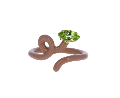 Taupe Enamel and Peridot Baby Vine Ring