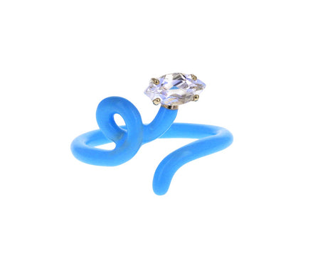 Baby Blue Enamel Rock Crystal Baby Vine Tendril Ring