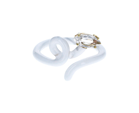 White Enamel Rock Crystal Baby Vine Ring - TWISTonline