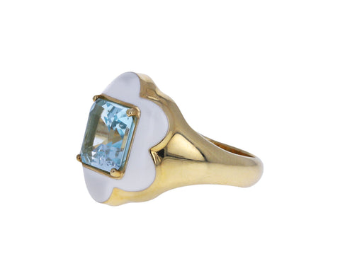 Square Cut Blue Topaz Give Them Flowers Ring