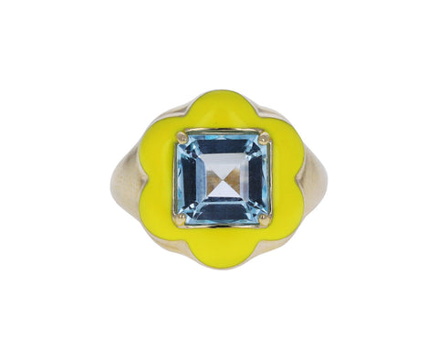 Square Cut Blue Topaz and Yellow Enamel Give Them Flowers Ring
