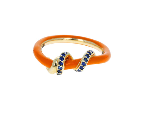 Orange Enamel and Blue Sapphire Vine Ring - TWISTonline