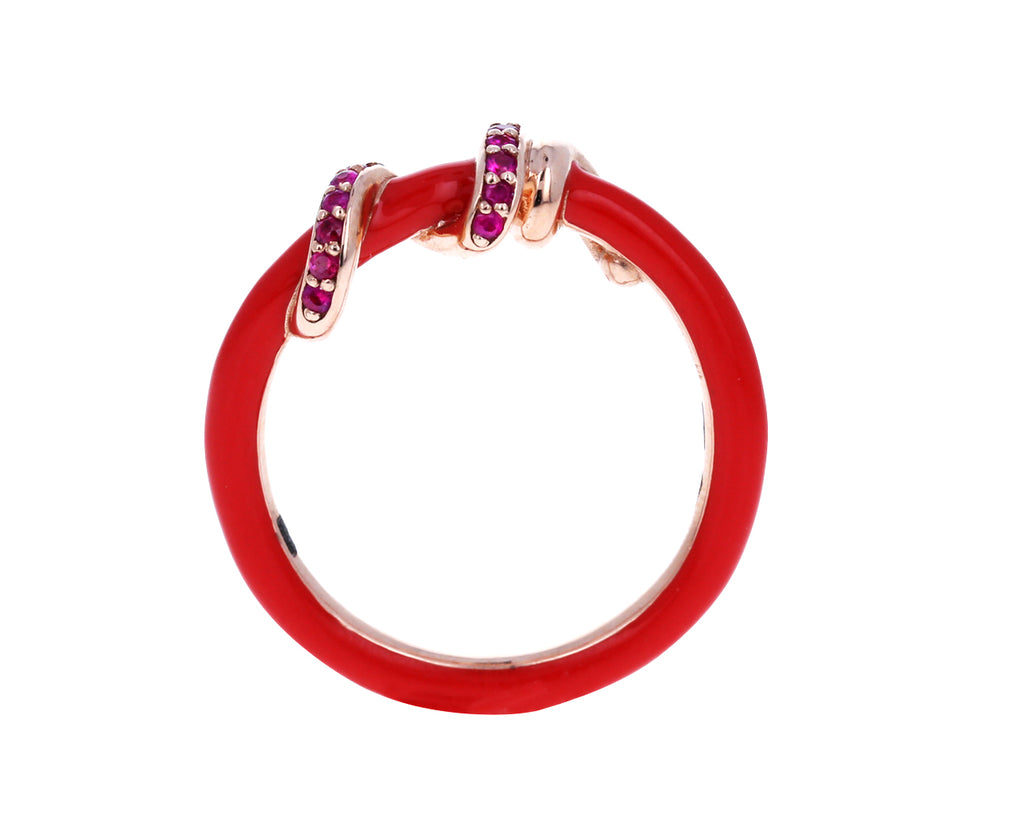 Red Enamel and Pink Sapphire Vine Ring - TWISTonline