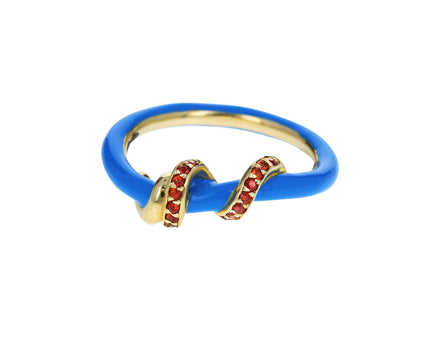 Blue Enamel and Orange-Red Sapphire Vine Ring - TWISTonline