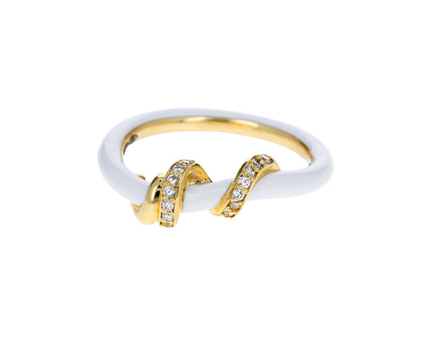 White Enamel and Diamond Vine Ring - TWISTonline