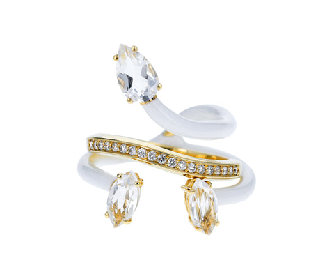 White Enamel Rock Crystal and Diamond Band Vine Ring - TWISTonline