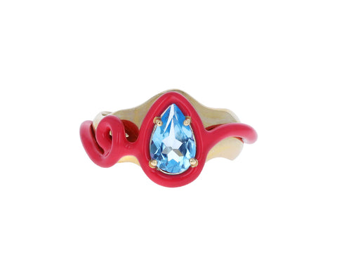 Pink Enamel Squiggle and Blue Topaz Ring