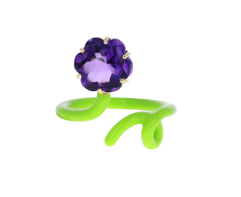 Lime Enamel Amethyst Flower Tendril Vine Ring