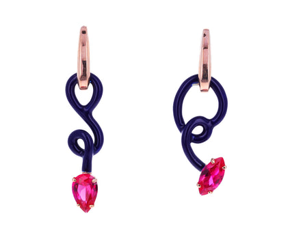 Asymmetrical Enamel and Corundum Baby Vine Hoops