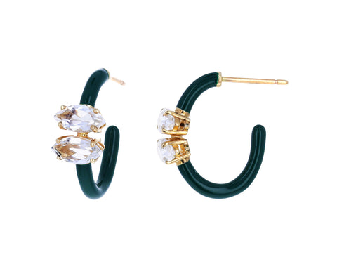 Hunter Green Enamel and Rock Crystal Hoops