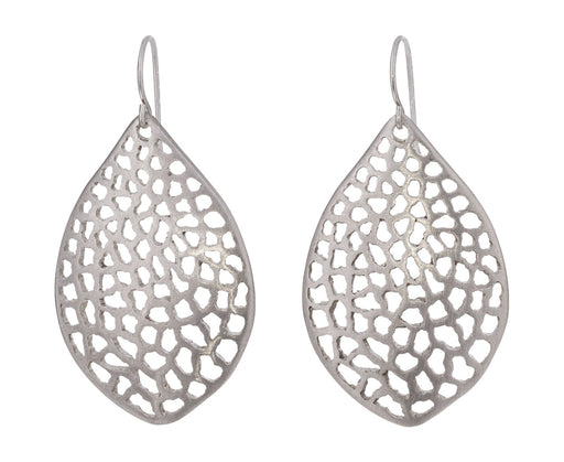 Large Lacy Leaf Silver Earrings - TWISTonline