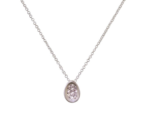 Silver Diamond Pavé Egg Pendant Necklace - TWISTonline