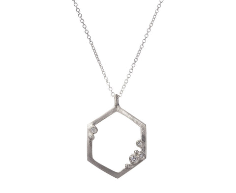 Diamond Encrusted Hexagon Necklace - TWISTonline