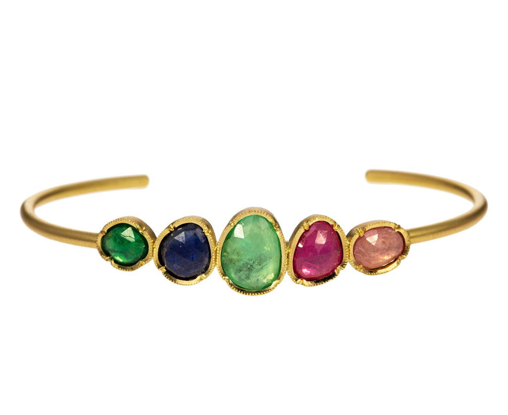 Emerald and Sapphire Orbit Cuff Bracelet - TWISTonline