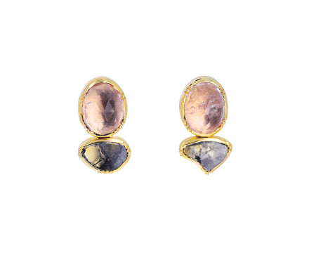 Morganite and Diamond Double Orbit Earrings