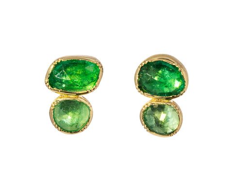 Double Orbit Emerald Stud Earrings - TWISTonline