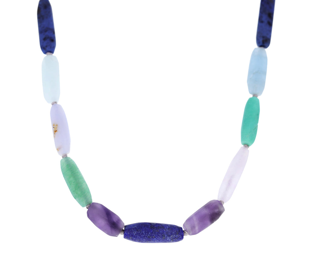 Lapis and Amethyst Mixed Gem Beaded Necklace