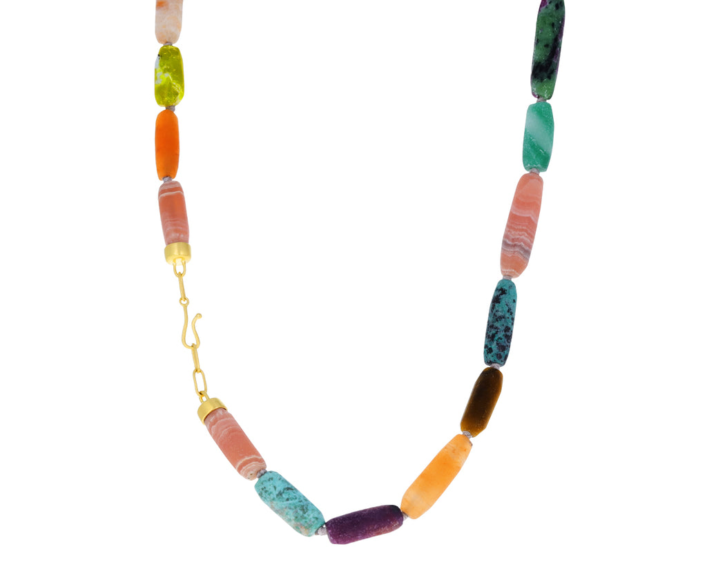 Ruby Zoisite, Rhodochrosite and Lapis Mixed Gem Necklace