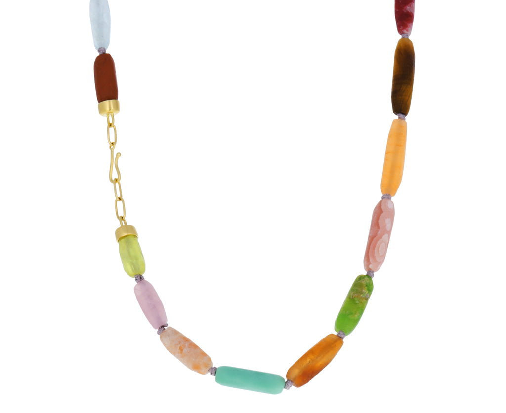 Rhodochrosite, Lapis and Sunstone Mixed Gem Necklace