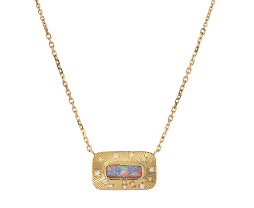 Starlight Boulder Opal and Diamond Engraved Necklace