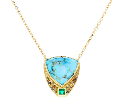 Turquoise and Emerald Barragan Shield Necklace