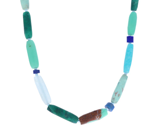 Blues and Greens Beaded Gemstone Necklace