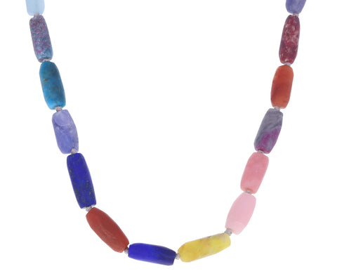 Rainbow Beaded Gemstone Necklace