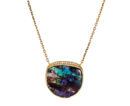 Ellipse Halo Boulder Opal Necklace - TWISTonline