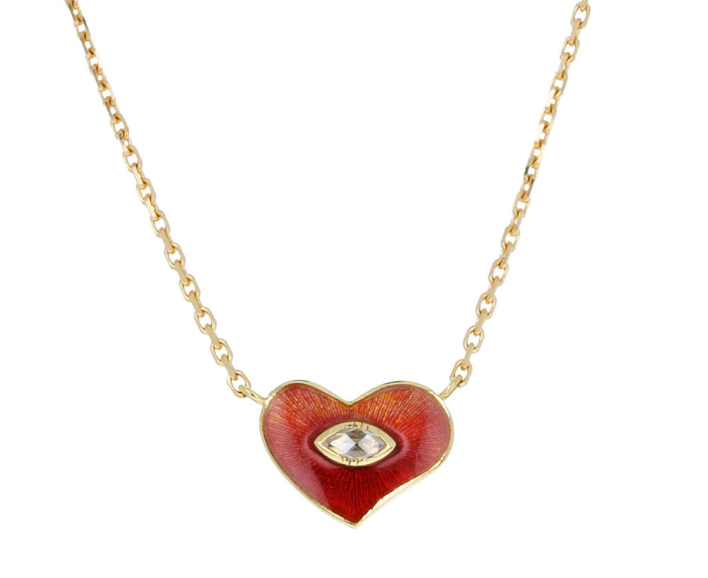 Enamel and Diamond Heart Necklace