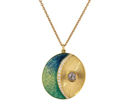 Moonbeam Enamel Diamond Necklace - TWISTonline