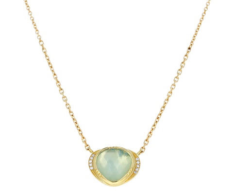 Aquamarine and Diamond Orbit Halo Necklace