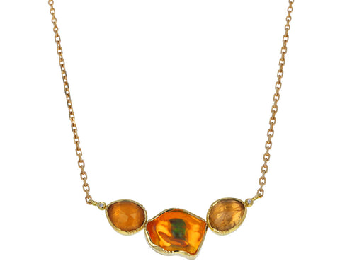Fire Opal and Sapphire Orbit Necklace