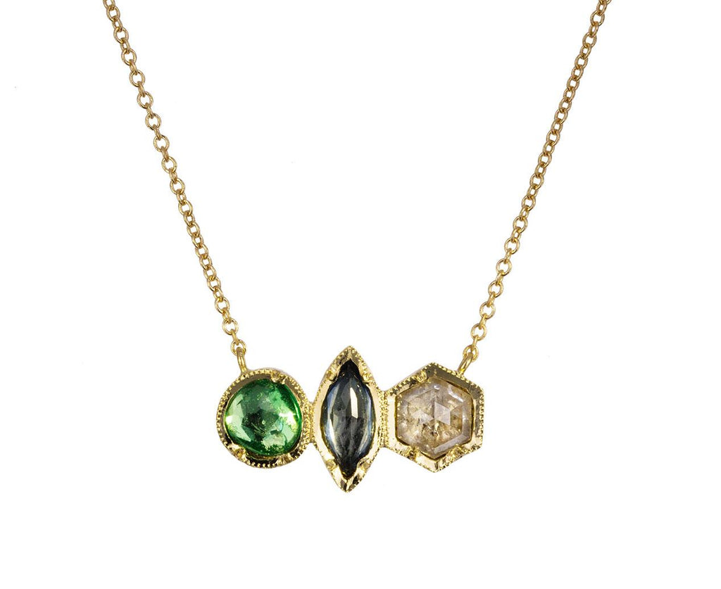 Emerald, Sapphire and Diamond Pendant Necklace - TWISTonline