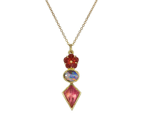 Rivera Flower Opal and Pink Tourmaline Necklace zoom 1_brooke_gregson_gold_tourmaline_opal_rivera_flowe