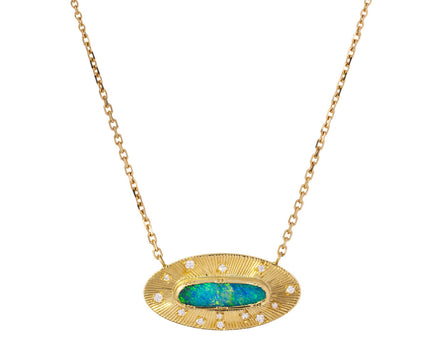 Boulder Opal Engraved Ellipse Necklace - TWISTonline