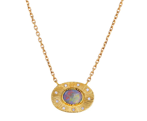 Boulder Opal and Diamond Starlight Necklace