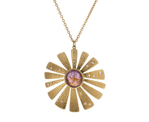 Pink Sapphire and Diamond Sunflower Necklace - TWISTonline